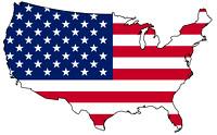 USA with flag on top